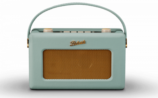 Roberts Revival RD60 DAB FM Radio in Duck Egg front view handle