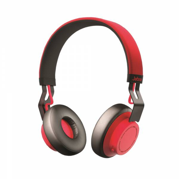 Jabra Move Wireless On-Ear Headphones in Red tilted side