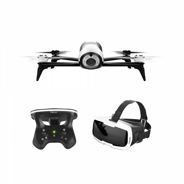 CONTENTS DRONE, VR HEADSET, Parrot BEBOP 2 FPV Drone Bundle in White