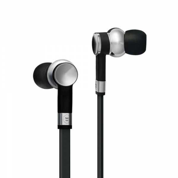 Master & Dynamic ME05 in Palladium and Black Rubber earbud view