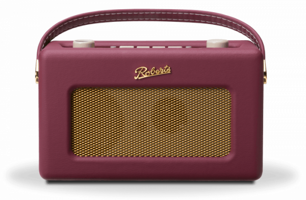 Roberts Revival RD60 DAB FM Radio in Burgundy portable audio wireless audio front view handle