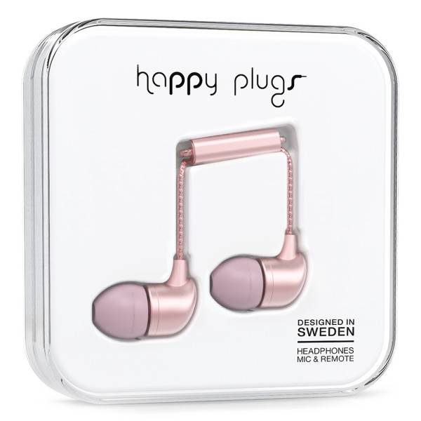 Happy Plugs In Ear Heaphones in Pink Gold