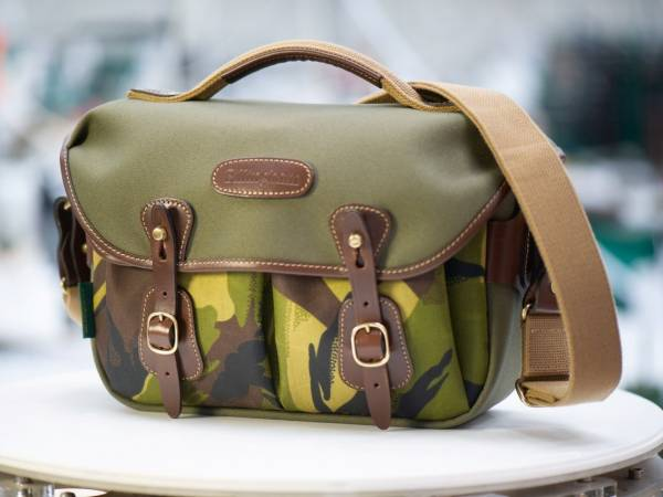 Billingham Hadley Small Pro Camera Bag in Sage FibreNyte with Camo Front / Chocolate Leather