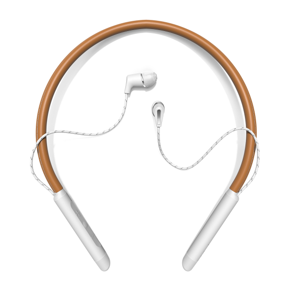 Klipsch T5 Neckband Wireless Earphones in Brown/White