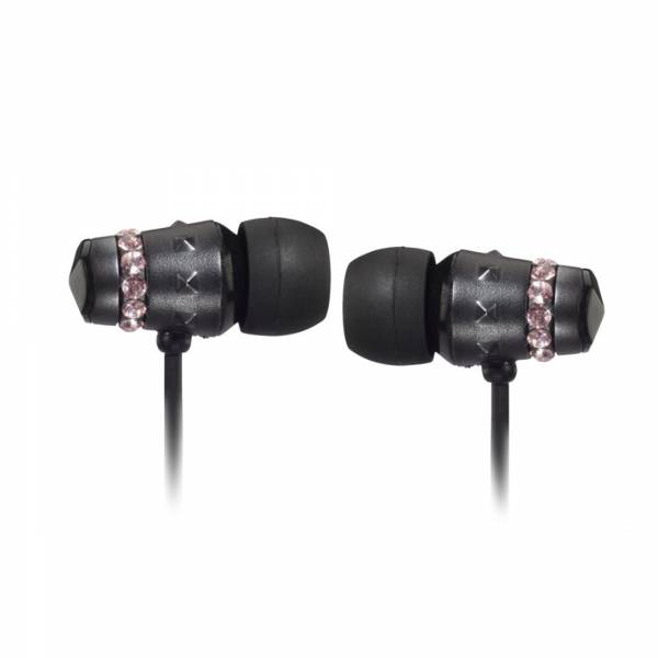 Maroo Ice Collection in Ear headphones in Midnight Black with Rose Crystals side view