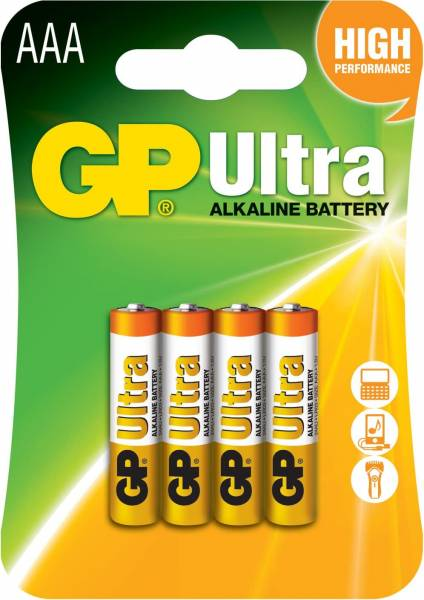 GP Ultra Alkaline AAA Batteries - Pack of 4