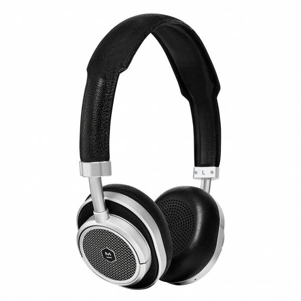Master & Dynamic MW50 Wireless On-Ear Headphones in Silver Metal and Black Leather
